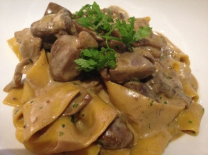 The perfectly cooked and flavorful Porcini Mushroom Pappardelle.