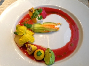 Warm stone fruit, sheep's ricotta, squash blossom, cherry and hibiscus