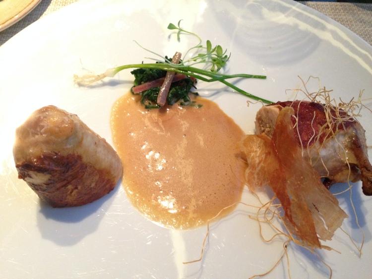 Local poussin, saucisson de Lyon, five spice, chard, walnut emlusion (Kilgore)