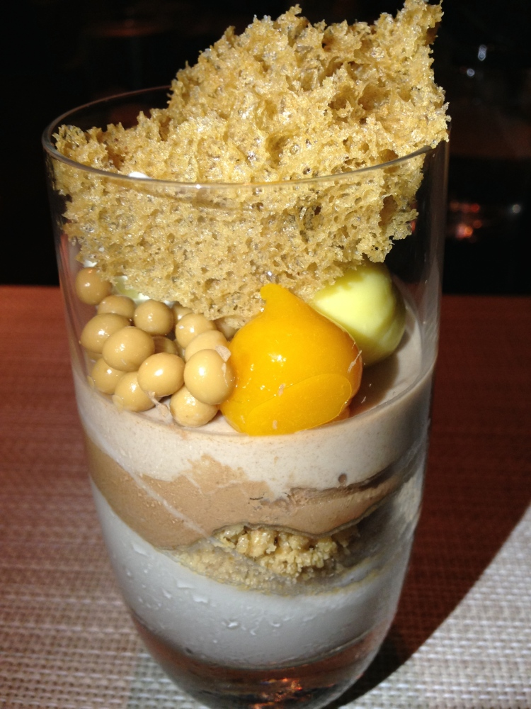 Coconut, chocolate, hazelnut verrine: coconut panna cotta, spiced crumble, chocolate mousse, hazelnut custard, hazelnut sponge (Bachour)