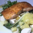 GK Bistronomie: Olive Oil Pan Seared Salmon with Pineapple, Heart of Palms, and Bok Choy