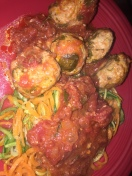Chicken Meatballs with Tomato Sauce with Spiraled Squash/Zucchini