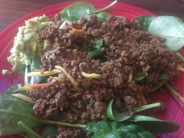 LUNCH Mexican inspired salad: ground beef and guacamole