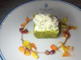 Yogurt Mousse / pistachio cake + orange blossom water + Pomegranate + Molasses + Flower Jam