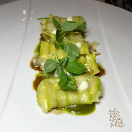 Ricotta Agnoletti: roasted miso, garlic scape pesto, braised beef, confit garlic