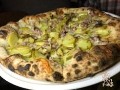 Leek & Potato Pizza: house made ricotta, charred onion, pecorino