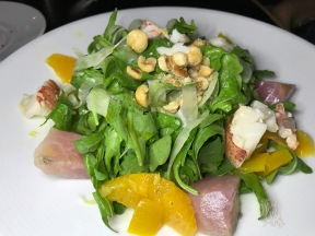 Baby Arugula: Maine Lobster, shaved fennel, chioga beet, navel orange vinaigrette