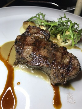 Bourbon Steak Angus New York Strip 5 oz: cauliflower puree, romanesco, foie gras emulsion.
